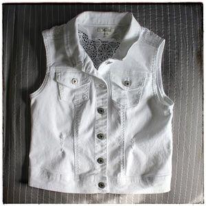 Mudd White Denim Vest w/crochet back